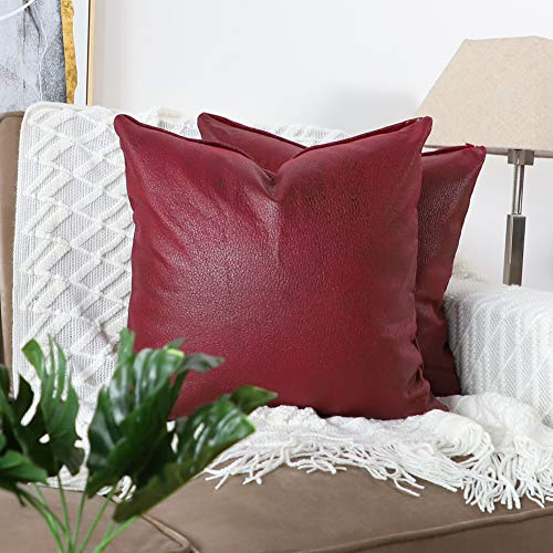 - Mandioo Set of 2 Faux Leather Modern Square Throw Pillow Covers Cushion Cases Decorative for Couch Sofa Home Living Room 18 x 18 Inches Red