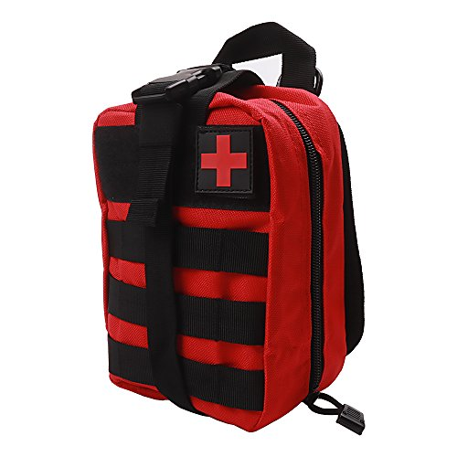 (MOLLE Utility Pouch - Medical First Aid Kit Utility Pouch - 600D EMT Pouch Bag Multifunction Nylon Tactical Molle Pouch For Hiking Riding Camping Outdoor Sports Red)