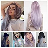 "FESHFEN 30"" 80cm Elegant Cosplay Wig Long Straight Costume Wig for Women Party Wig Synthetic Hair Wigs Middle Part Ombre Taro Color Granny Grey Ombre Wig"