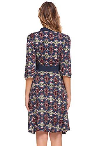 Down 4 Chiffon Linie Für Vintage Hochzeit Frauen Pagacat Druck 3 Blau A Kleid Style Shirt Ärmel Blumen Hemd Button Freizeit Retro wvIYq7I