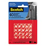 "Scotch SP951-NA Self-Stick Rubber Bumper Pads, Clear, 0.5"", 40 Pack"