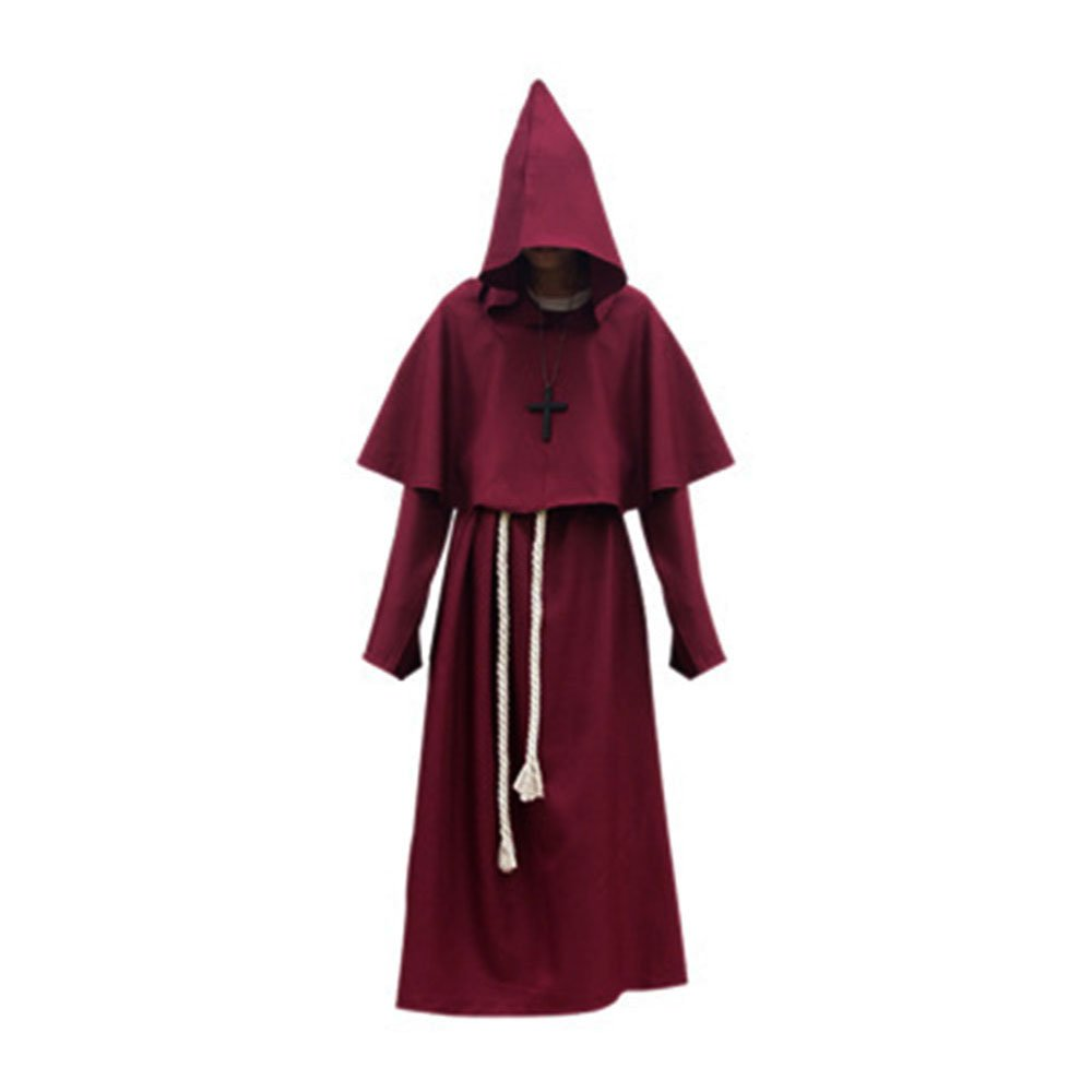 Halloween Monk Costume Adult Friar Medieval Hooded Monk Renaissance Priest Robe Cape Cloak Medieval Cowl Costume Cosplay