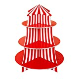 3 Tier Cupcake Foam Stand with Circus Carnival Tent Design for Desserts, Birthdays, Decorations by Super Z Outlet