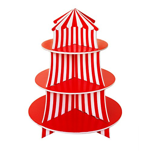3 Tier Cupcake Foam Stand with Circus Carnival Tent Design for Desserts, Birthdays, Decorations (Velvet Stripe Cut)