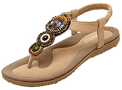 AGOWOO Women's Novelty Studded Flat Thong Sandals Beach Sandles