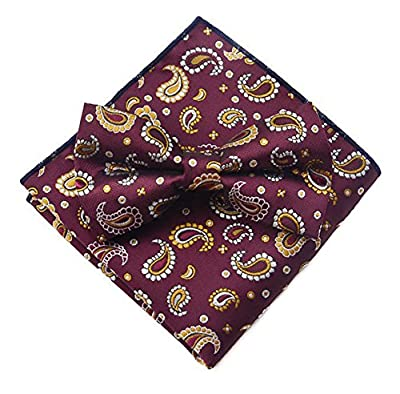 Secdtie Men's Silk Bow Tie Pocket Square Set Floral Jacquard Woven Party Cravat