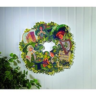 OWI Irish St. Patricks Decor - Vintage Wood Die Cut Wreath - #x36913