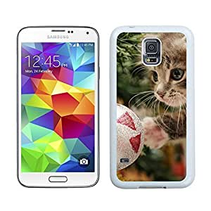 Hot Sell Design Christmas Cat With Jingling Bell Samsung Galaxy S5 White Silicone Case,Samsung I9600 Phone Case