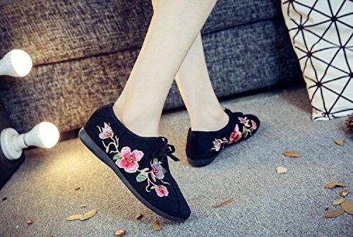 Lazutom Para Lona Negro Cordones Zapatos Mujer De rwvxZrIU