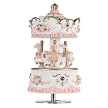 Andoer Laxury Windup 3-horse Carousel Music Box Artware/Gift Melody Castle in the Sky Pink/Purple/Blue/Gold Shade for Option