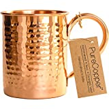 100% Copper Mug for Moscow Mule - 16oz Hammered Pure Copper Thick Wall - BONUS Recipe Cards!