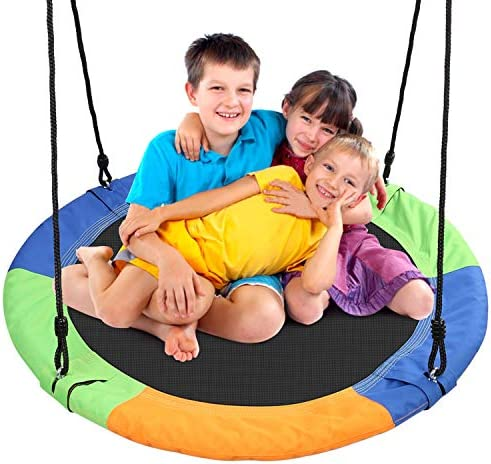 Odoland 40 inch Kid Round Color Tree Swing, Chidren Platform Rope Swing, Outdoor Flying Saucer SwingSeat with Adjustable Hanging Ropes for Indoor, Backyard, Playground and Amusement Park