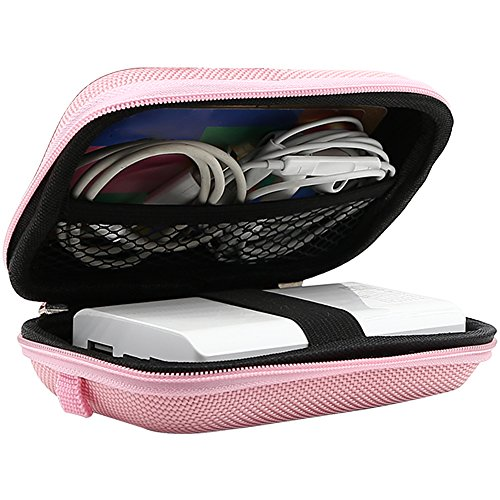 Pink Travel Earphone (Carrying Pouch, iMangoo Hard Protective EVA Case Impact Resistant Travel Pouch Bag Power Bank Organizer Sleeve Pocket With Mesh Accessory Pouch & Carrying Strap for USB Cable Earphone Pink)