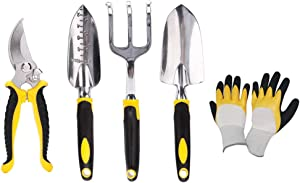 X.M 5 Piece Garden Tool Set Garden Tool Kit, Heavy Duty Polished Aluminum Outdoor Hand Tools Accessories Set for Women Men