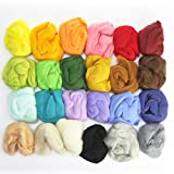 Woolbuddy Needle Felting 24 Colors Wool Roving Kit, beautiful felting wool, Instruction teach you how to mix color- Great for Arts & Crafts & Easy for Beginners