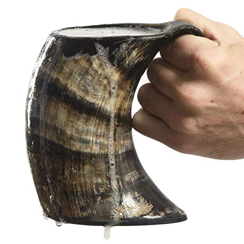 AleHorn the Original Handcrafted Authentic Viking Drinking Horn Large Tankard for Beer Mead Ale Medieval Inspired Stein Mug Food Safe Vessel with Handle ()