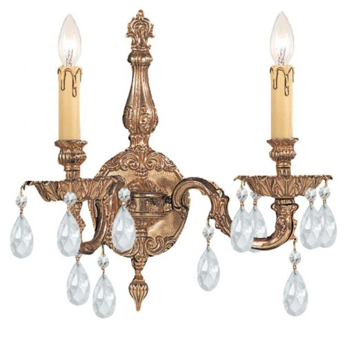 Crystorama 2502-OB-CL-S Crystal Accents Two Light Sconces from Cortland collection in Brassfinish, 6.50 inches - Cortland Collection