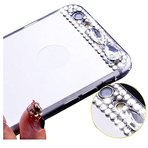 SODIAL(R) iPhone 6/ 6S Case, Spiegel Bling Diamant Ruecken TPU Case Weiche Abdeckung Silber