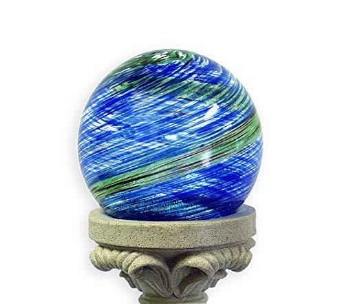 Outdoor Garden Backyard Décor 10-Inch Glow-in-The-Dark Illuminarie Glass Gazing Globe, Light Blue Swirl