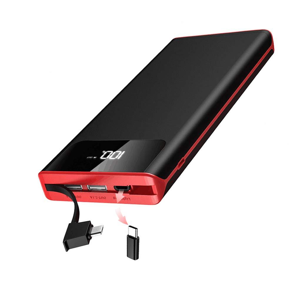 Gnceei 25000mAh Cargador Móvil Portátil Batería Externa con Pantalla Digital LCD y Luces LED, Cable Incorporado Alta Capacidad Power Bank, 3 Salida ...