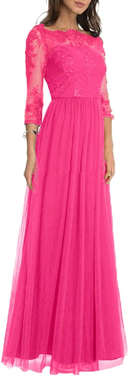 Neggcy Mother of The Bride Dresses Long Evening Prom Gown for Women Party Wedding with Sleeves Applique Fuchsia
