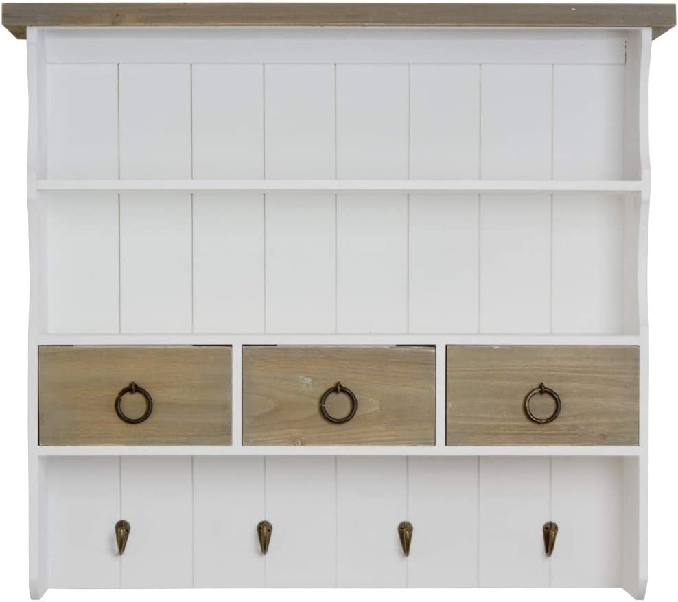 Elbmobel Shelving Unit With Hooks And Drawers For Wall Mounting In