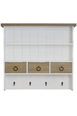 elbmoebel m0731 Wandregal mit Haken und Schubladen im Landhaus-Stil aus  Holz in braun weiß