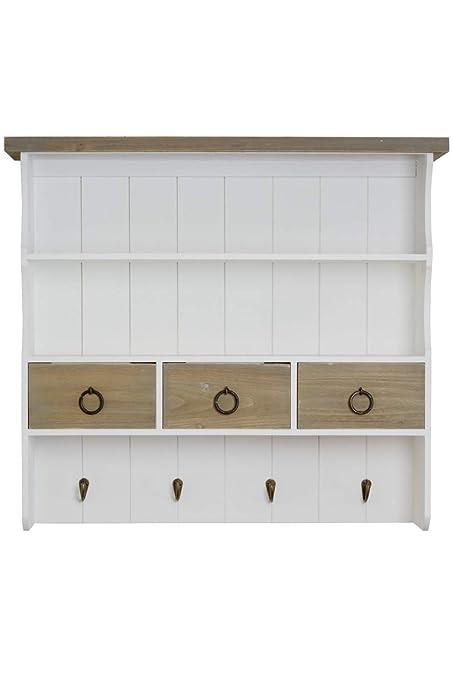 elbmöbel Wandregal Gewürzregal mit Schubladen im Landhaus-Stil aus Holz  Mehrfarbig (Braun-Weiß, B67 x H60 x T17 cm)