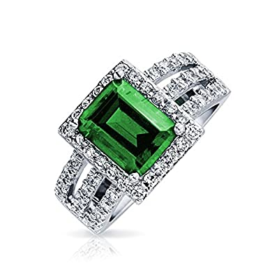 Bling Jewelry Simulated Emerald CZ Halo Art Deco Sterling Silver Cocktail Ring big discount