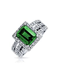 Bling Jewelry Simulated Emerald CZ Halo Art Deco Sterling Silver Cocktail Ring
