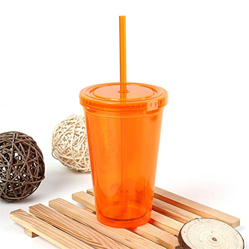 To Go Cold Drink Cup with Straw,Aissimio Classic Candy Tumbler with Liquid Beaker Lid 17 oz 500ml Keep Drnk Cool & Refesh Orange