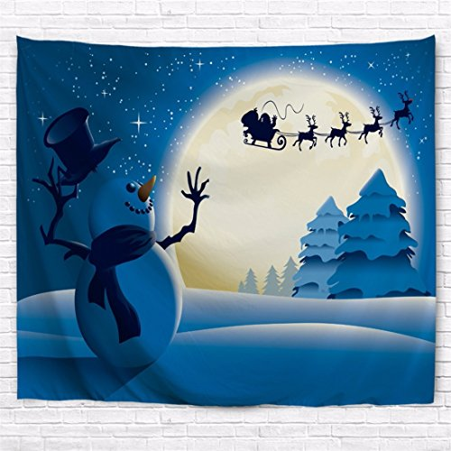 Snowman Wall Tapestry (A.Monamour Christmas Holiday Themed White Snow Cute Snowman Pine Tree Santa Claus Riding The Sled Through Big Round Moon Print Tapestry Wall Hanging Party Decors)