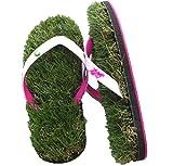GFF Grass Flip Flops, Large (11-13), Black Green