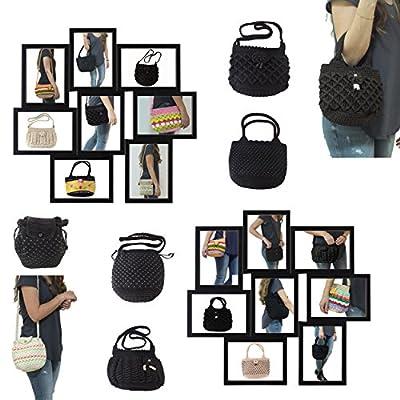 Fashion Women Handmade Bag Black Stitch Shoulder Bag Purse Crochet Knit