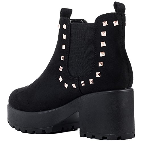 Boots Suede Lace Spylovebuy Up 2 Sole Ankle Heel Platform Style Cleated Shotgun Block Black wpRqgzH