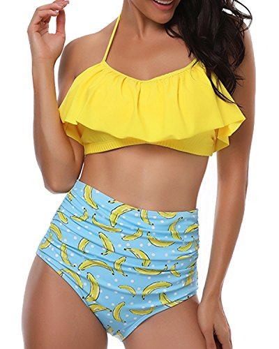 - Women's Ruched Ruffle Halter Neck Bikini Set, High-Waisted Banana Printed Two Piece Swimsuit S-XL