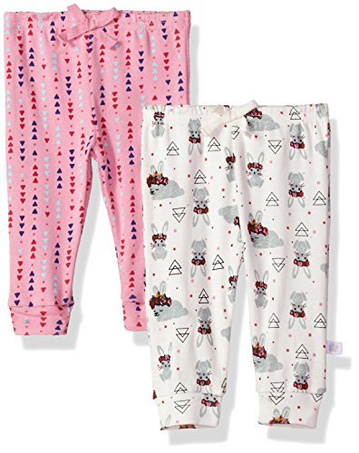 Rosie Pope Girls Baby 2 Pack Pants (More Options Available), Geo/White Bunny, 3-6 Months
