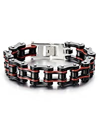 Masculine Mens Bike Chain Bracelet of Stainless Steel Black Red Two-tone High Polished
