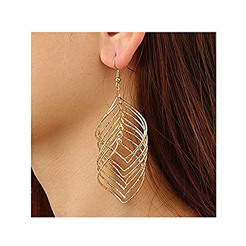 Personality Gold Metal Brushed Drop Earrings Hollow Multilayer Leaf Shape Long Earrings for Women