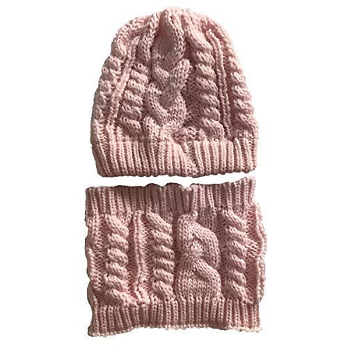 33071cd1f Molodo Women's Winter Knit Cup Beanie Tail Ponytail Winter Warm Stretch  Cable Messy High Bun Knit Hat Scarf Set Pink