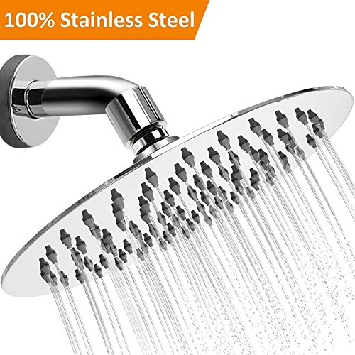 "Shower Head High Pressure Rainfall - 8"" Stainless Steel Luxury Rain Flow - Modern Polished Chrome Large Round Rainhead - Homequisite at home Fixed Spa Massage and Relaxation"