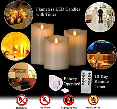 "HEIOKEY Electronic LED Candle Set of 3 (4"" 5"" 6"") Real Wax Moving Wickess LED Flameless Candles Pillar Lights Battery Operated with Timer and Remote Control for Gifts and Decoration"
