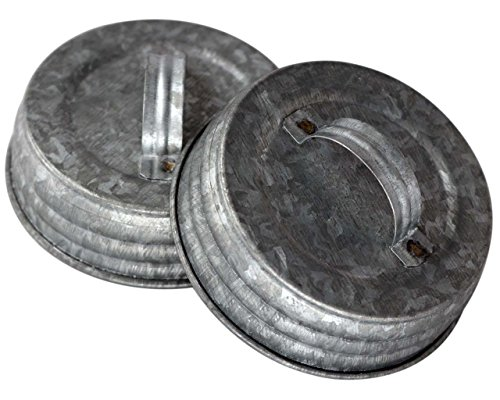 Galvanized Canister Handle Lid For Mason Jars (4 Pack, Regular Mouth)