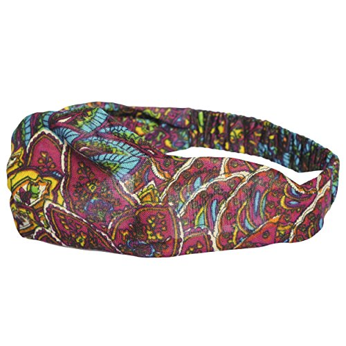 Bright mix printed headband-Maroon-One size