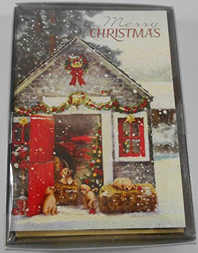 Merry Christmas House with Puppies 16 Count Boxed Cards (Merry Christmas Puppies)