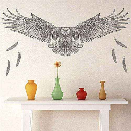 ajhsuwn Creative Eagle Hawk Wall Stickers for Kids Rooms Bedroom Home Decor PVC Wall Tatoo Decals DIY Mural Art Decorative ()