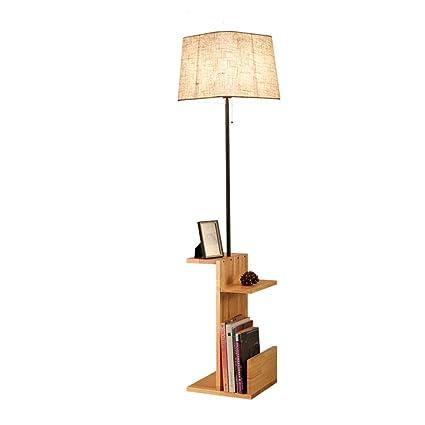 Modern Wooden Fabric Floor Lamp With Built In Shelving Units Bookshelf