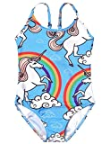 Swimsuits for Girls Bathing Suits One Piece Kid Unicorn Rainbow Swimwear Blue