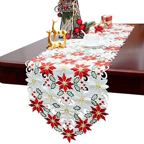 Embroidered Runner - Simhomsen Christmas Poinsettia Table Runner for Holiday Decorations, Embroidered Holly Leaves 14 × 54 inch