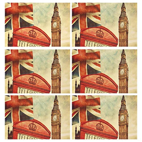 Cocoa trade Heat Resistant Placemats for Kitchen Table Mats Dining Room,London Red Phone Box Big Ben Washable Insulation Non Slip Placemat 12x18 inch(6 pcs) ()